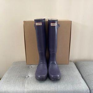 HUNTER Tall Matte Purple Winter Rain Boots